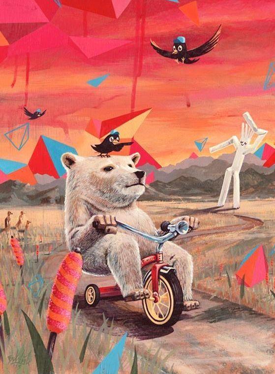Медведь на велосипеде, картинка